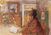 Carl Larsson Karin Readin oil painting artist