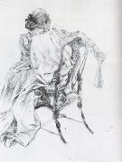 Carl Larsson Rococo Model Charcoal oil painting artist
