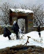 Caspar David Friedrich Graveyard under Snow oil painting picture wholesale