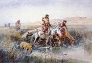 Charles M Russell Indian Women Moving Camp oil painting picture wholesale