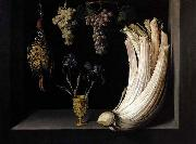 Felipe Ramirez Still Life with Cardoon, Francolin, Grapes and Irises oil painting artist