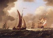 Francis Swaine Small craft at sea in a stiff breeze oil painting picture wholesale