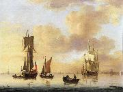 Francis Swaine A royal yacht and small naval ship in a calm oil painting picture wholesale
