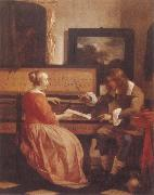 Gabriel Metsu A Man and a Woman Seated by a Virginal oil painting picture wholesale