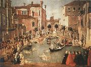 Gentile Bellini Miracle of the Cross on San Lorenzo Brdge,late 1500 oil painting picture wholesale