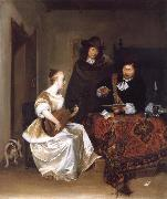 Gerard Ter Borch A Woman Playing a Theorbo to Two Men oil painting picture wholesale