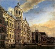 HEYDEN, Jan van der Amsterdam, Dam Square with the Town Hall and the Nieuwe Kerk oil painting picture wholesale