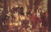 Jacob Jordaens Jesus Diving the Merchants from the Temple oil painting picture wholesale