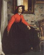 James Tissot Portrait of Mill L L,Called woman in Red Vest oil painting on canvas
