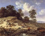 Jan Wijnants A Track by a Dune,with Peasants and a Horseman oil painting picture wholesale