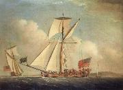 Monamy, Peter English Cutter-righged yacht in two positions oil painting picture wholesale
