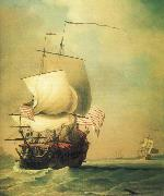 Monamy, Peter An English East Indiaman bow view oil painting picture wholesale