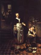 Nicolas Maes Interior with a Sleeping Maid and Her Mistress oil painting picture wholesale