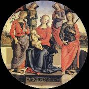 Pietro vannucci called IL perugino The Virgin and the Nino acompanados for two angeles, Holy Rose and Holy Catalina oil painting picture wholesale