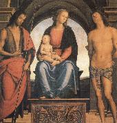 Pietro vannucci called IL perugino The Madonna and the Nino enthroned, with the Holy Juan the Baptist and Sebastian oil painting picture wholesale