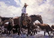W.H.D. Koerner The Stood There Watching Him Move Across the Range,Leading His Pack Horse oil painting picture wholesale