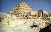 unknow artist Trapvormige pyramid and palace of king Zoser Sakkara oil painting picture wholesale