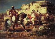 Adolf Schreyer Arabic horsemen oil painting