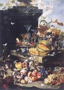 Christian Berentz Flowers of fruits and tray with chalkboard glasses out of blown glass oil painting picture wholesale