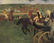Edgar Degas On the race place Jockeys next to a carriage oil painting picture wholesale