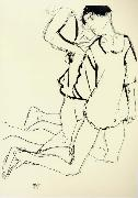 Egon Schiele Two Kneeling Figures oil painting picture wholesale
