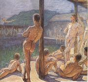 Eugene Jansson in navy bathing hut oil
