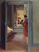 Felix Vallotton Interior with Woman in red oil painting picture wholesale