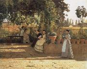Silvestro lega In the wine bower oil painting picture wholesale