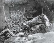 Achille-Etna Michallon The Fallen Branch,Fontainebleau oil
