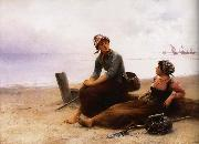 August Hagborg Repose pa beach oil painting picture wholesale