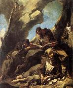 MAGNASCO, Alessandro Three Capuchin Friars Meditating in their Hermitage oil painting picture wholesale
