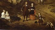 REMBRANDT Harmenszoon van Rijn Portrait of a couple with two children and a Nursemaid in a Landscape oil painting picture wholesale