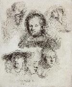 REMBRANDT Harmenszoon van Rijn Studies of the Head of Saskia and Others oil painting picture wholesale