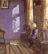 Anna Ancher Sunlight in the Blue Room oil