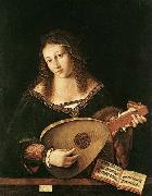 BARTOLOMEO VENETO Woman Playing a Lu oil
