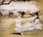 Berthe Morisot The mother and her child on the meadow oil painting picture wholesale