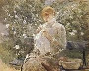 Berthe Morisot The Woman sewing at the courtyard oil painting picture wholesale