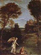 Domenichino Landscape with Tobias as far hold of the fish oil