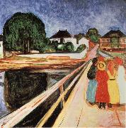 Edvard Munch Four girls on a bridge oil painting picture wholesale