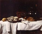 Francois Bonvin Still life with Lemon and Oysters oil painting artist