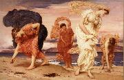 Frederick Leighton Greek Girls Picking up Pebbles by the Sea oil painting