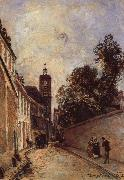 Johan Barthold Jongkind Rue de L-Abbe-de l-Epee and Church oil painting artist