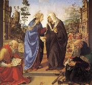 Piero di Cosimo Virgin Marie besokelse with St. Nicholas and St. Antonius oil painting picture wholesale
