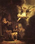 REMBRANDT Harmenszoon van Rijn The Archangel Raphael leaving Tobias-s Family oil painting picture wholesale