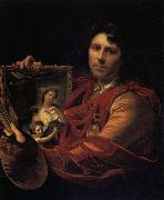 Adriaen van der werff Self-Portrait with a Portrait of his Wife,Margaretha van Rees,and their Daughter,Maria oil painting