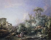 Francois Boucher Landscape with a Young Fisherman oil painting picture wholesale