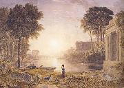 George Barret Classical Landscape Sunset (mk47) oil painting artist
