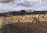 George Robert Lewis Dynedor Hill,Herefordshire,Harvest field with reapers (mk47) oil painting artist