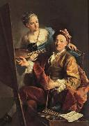 Georges desmarees Self-Portrait wiht his Daughter,Maria Antonia oil painting artist