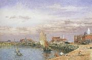 John brett,ARA View at Great Yarmouth (mk46) oil painting artist